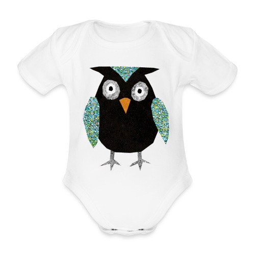Collage mosaic owl - Organic Short-sleeved Baby Bodysuit