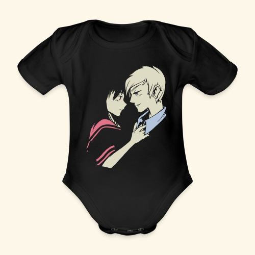 Romantisches Liebespaar Anime Cartoon Verliebte - Baby Bio-Kurzarm-Body