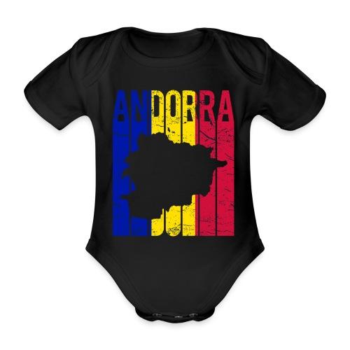 stretched flag of Andorra t-shirt design map - Body ecologico per neonato a manica corta