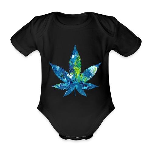 Artful cannabis leaf in acrylic paint - Organic Short-sleeved Baby Bodysuit