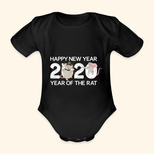 Happy New Year 2020 Gutes Neues Jahr der Ratte - Baby Bio-Kurzarm-Body