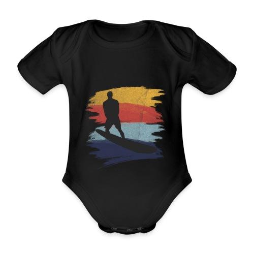 Wellenreiten Retro-Stil, Vintage - Baby Bio-Kurzarm-Body