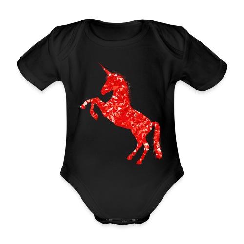 unicorn red - Ekologiczne body niemowlęce z krótkim rękawem