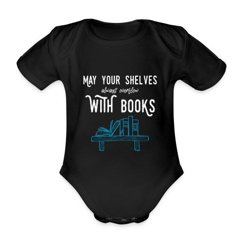 0032 bookshelf | Stack of books | Wish | reader - Organic Short-sleeved Baby Bodysuit