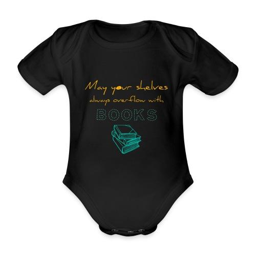 0037 Do the bookshelves always like books? - Organic Short-sleeved Baby Bodysuit
