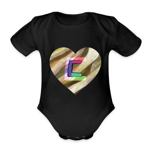 Chris could be crossed by colorful continous C's - Organic Short-sleeved Baby Bodysuit
