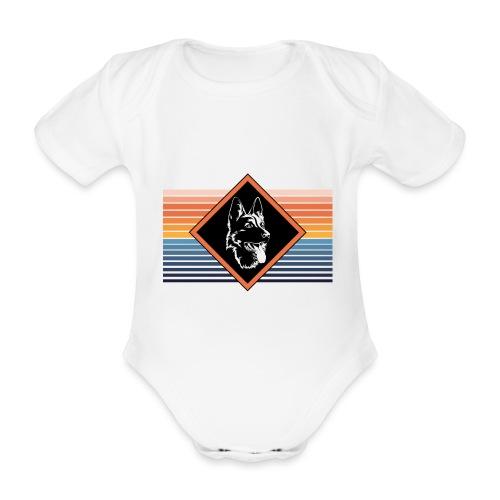 Portrait deutscher Schäferhund Retro Streifen - Baby Bio-Kurzarm-Body