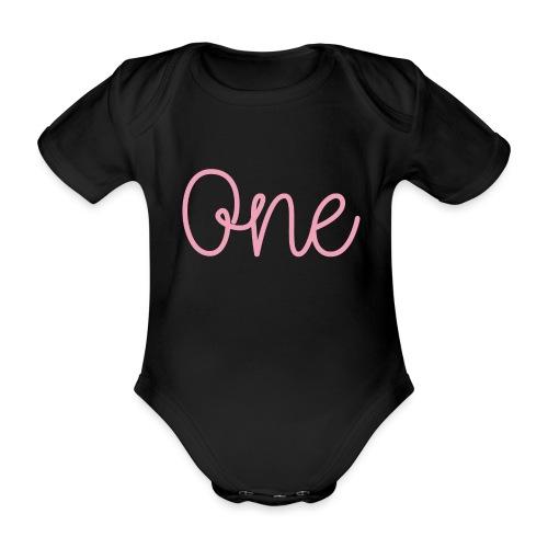 One pink - Organic Short-sleeved Baby Bodysuit