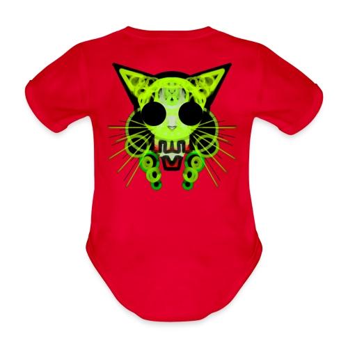 cat skeleton skull light green in deep black - Organic Short-sleeved Baby Bodysuit