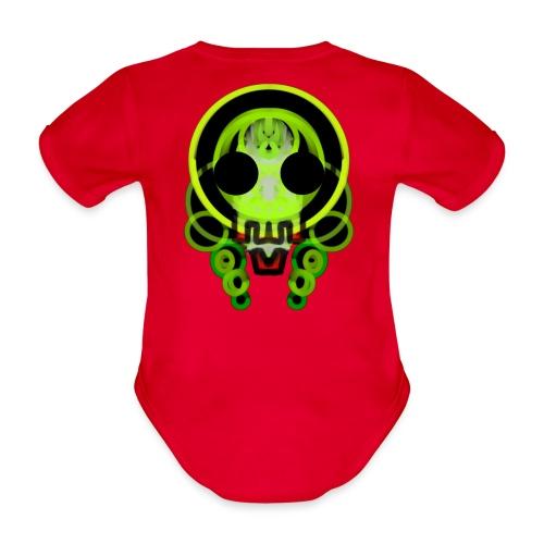 dead skull of loops of green light - Organic Short-sleeved Baby Bodysuit