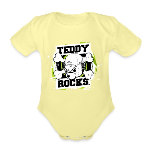 Teddy Rocks (Final_Revers - Organic Short-sleeved Baby Bodysuit