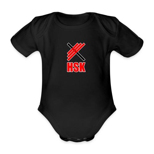 Huddinge styrkelyftklubb 2 logotyper - Ekologisk kortärmad babybody