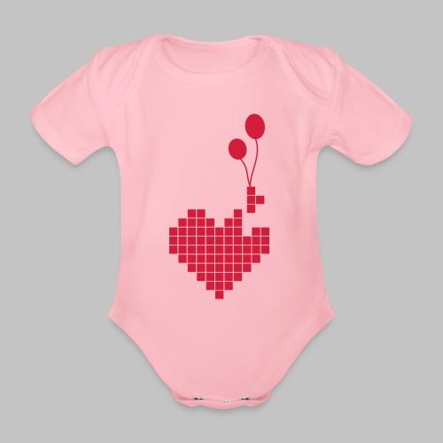 heart and balloons - Organic Short-sleeved Baby Bodysuit