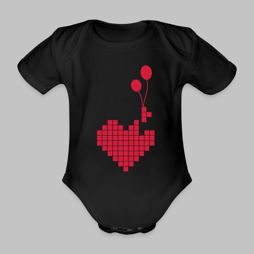 heart and balloons - Organic Short-sleeved Baby Bodysuit