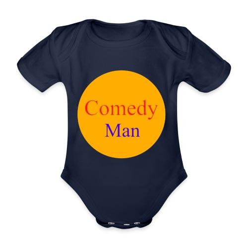 comedy man logo - Baby bio-rompertje met korte mouwen