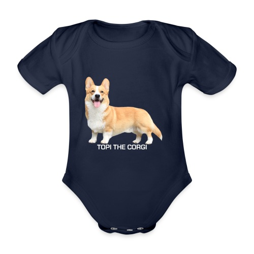 Topi the Corgi - White text - Organic Short-sleeved Baby Bodysuit