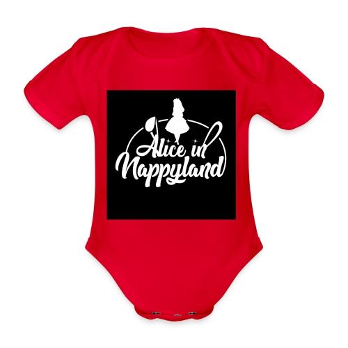 Alice in Nappyland TypographyWhite 1080 - Organic Short-sleeved Baby Bodysuit