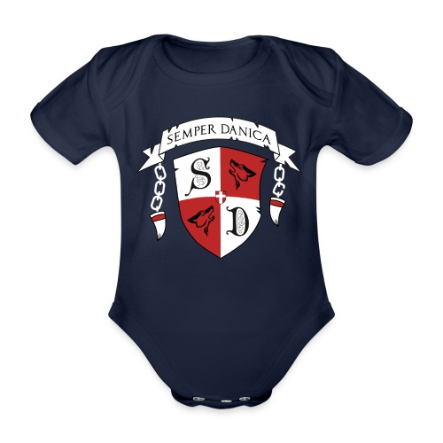 SD logo - hvide lænker - Kortærmet babybody, økologisk bomuld