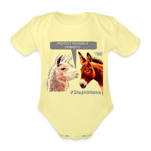 Protect Yourself Donkey - Coronavirus - Body orgánico de maga corta para bebé