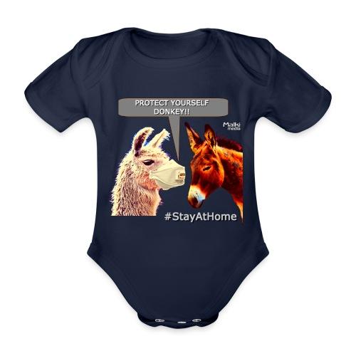 Protect Yourself Donkey - Coronavirus - Organic Short-sleeved Baby Bodysuit