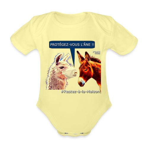 PROTEGEZ-VOUS L'ÂNE !! - Coronavirus - Body orgánico de maga corta para bebé
