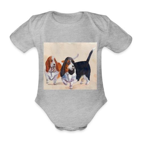 Basset hound_double-trot - Kortærmet babybody, økologisk bomuld