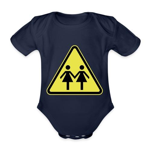 ACHTUNG LESBEN POWER! Motiv für lesbische Frauen - Baby Bio-Kurzarm-Body