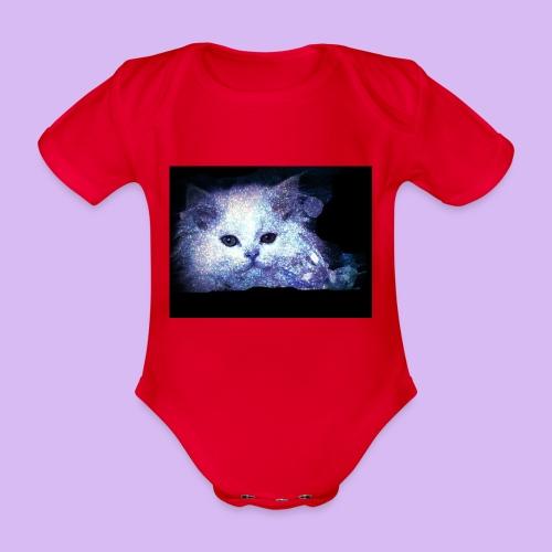 Gatto bianco glitter - Body ecologico per neonato a manica corta