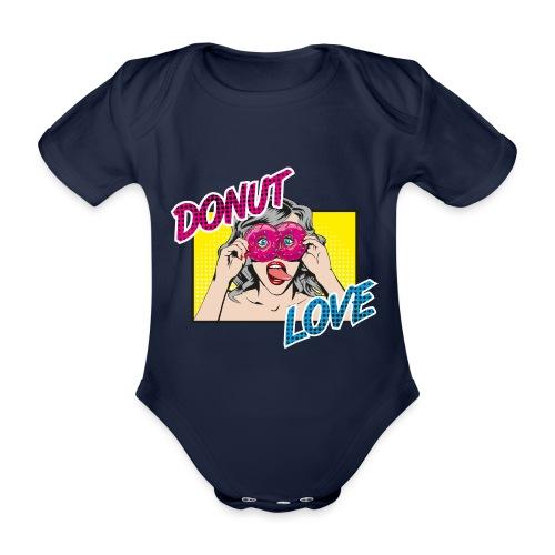 Popart - Donut Love - Zunge - Süßigkeit - Baby Bio-Kurzarm-Body