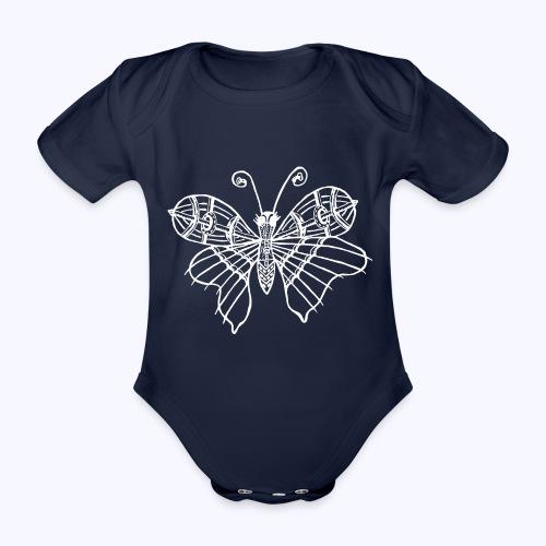Schmetterling weiss - Baby Bio-Kurzarm-Body
