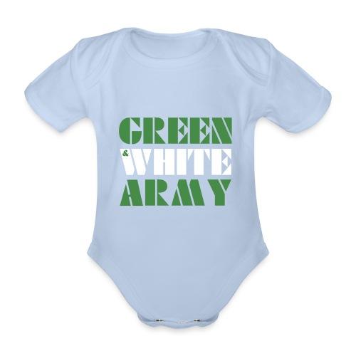 GREEN & WHITE ARMY - Organic Short-sleeved Baby Bodysuit
