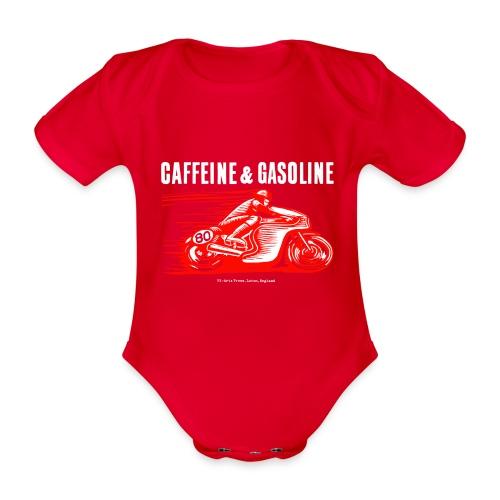 Caffeine & Gasoline white text - Organic Short-sleeved Baby Bodysuit