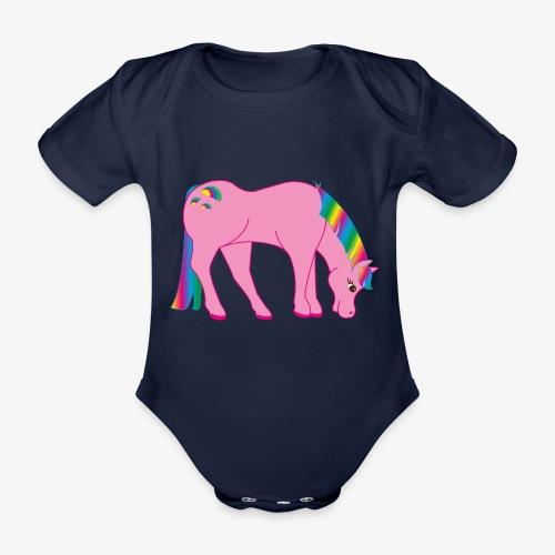 Regenbogen Pferd - Baby Bio-Kurzarm-Body