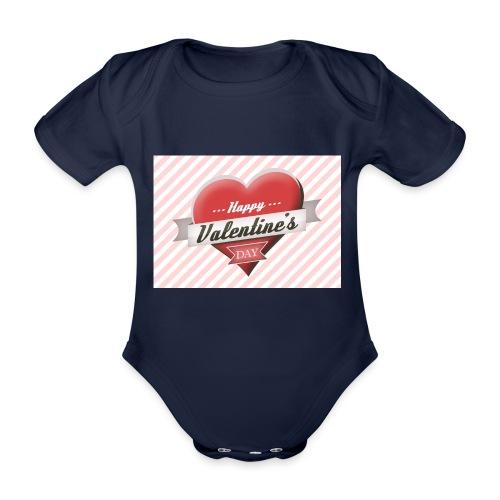 happy valentines day - Organic Short-sleeved Baby Bodysuit