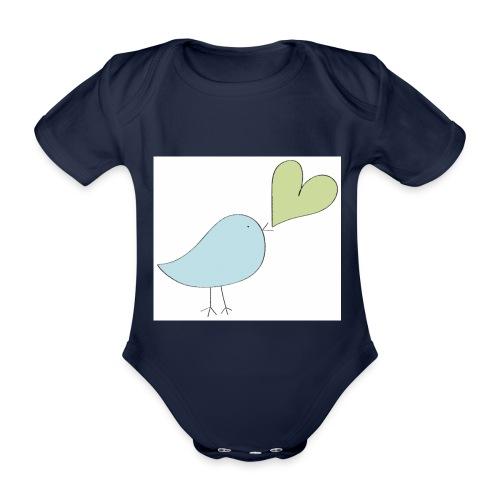 piepmatz mit herz - Baby Bio-Kurzarm-Body