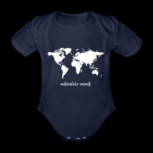 adventure awaits - Weltkarte - Baby Bio-Kurzarm-Body