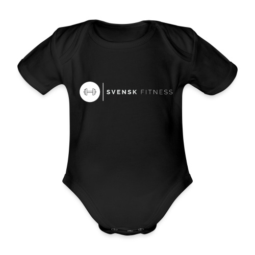 Linne med vit vertikal logo - Ekologisk kortärmad babybody