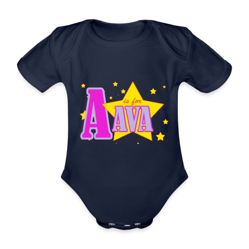 A IS FOR AVA png - Organic Short-sleeved Baby Bodysuit