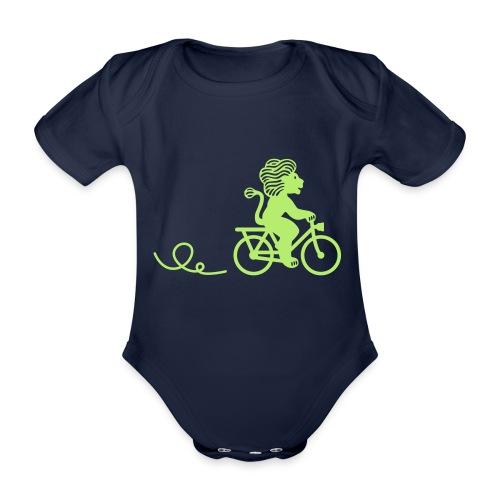 Züri-Leu beim Velofahren ohne Text - Baby Bio-Kurzarm-Body