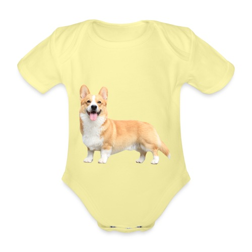 Topi the Corgi - Sideview - Organic Short-sleeved Baby Bodysuit