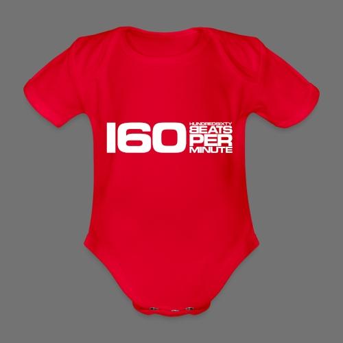 160 BPM (valkoinen pitkä) - Vauvan lyhythihainen luomu-body