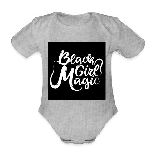 Black Girl Magic 1 White Text - Organic Short-sleeved Baby Bodysuit