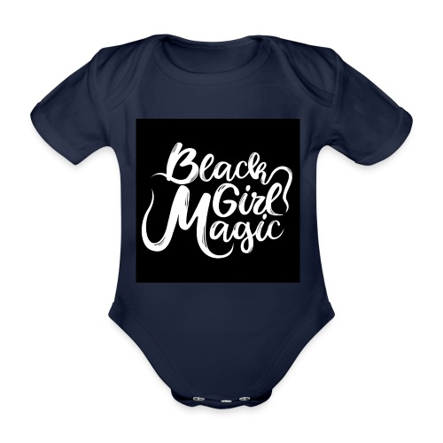 Black Girl Magic 1 White Text - Organic Short-sleeved Baby Bodysuit