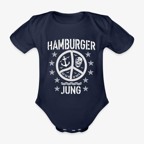 96 Hamburger Jung Peace Friedenszeichen Seil - Baby Bio-Kurzarm-Body