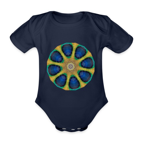 Pfau Kaleidoskop - Baby Bio-Kurzarm-Body