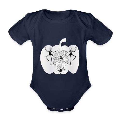halloween spinnennetz und Skelette - Baby Bio-Kurzarm-Body