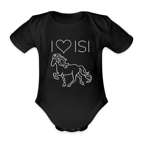 I love Isi, weiß - Baby Bio-Kurzarm-Body