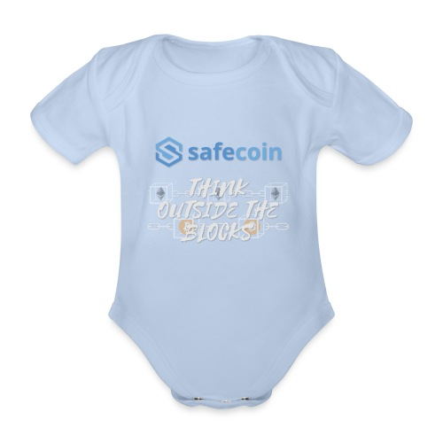 SafeCoin; Think Outside the Blocks (blue + white) - Organic Short-sleeved Baby Bodysuit