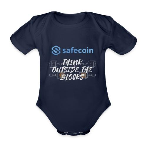 SafeCoin; Think Outside the Blocks (blue + white) - Organic Short-sleeved Baby Bodysuit