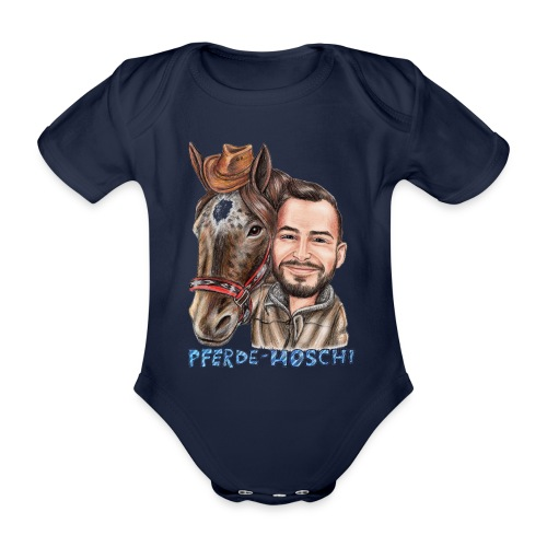 Pferde-Hoschi Kollektion hinten - Baby Bio-Kurzarm-Body